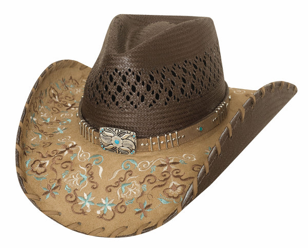 Bullhide Hats Panama Brown Straw Never Give Up #5002784
