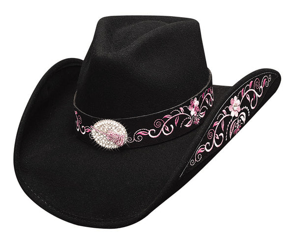 Bullhide Hats Decorated Felt Rockin' To The Beat Black