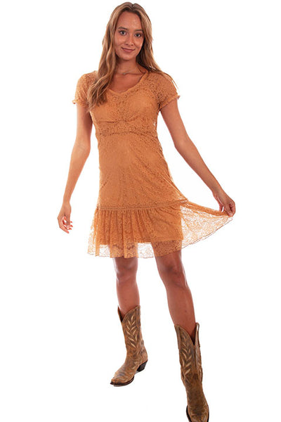Scully Honey Creek Dress HC581 Lace with Cap Sleeve Butterscotch