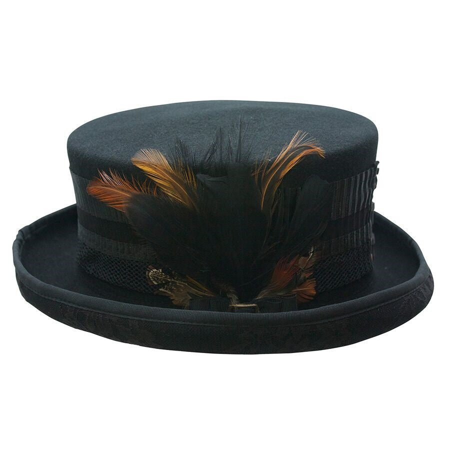 Conner Handmade Hats London Lace with Feathers Side