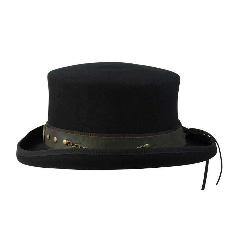 Conner Handmade Hats Victorian and Steampunk Jubilee Top Hat Side Black