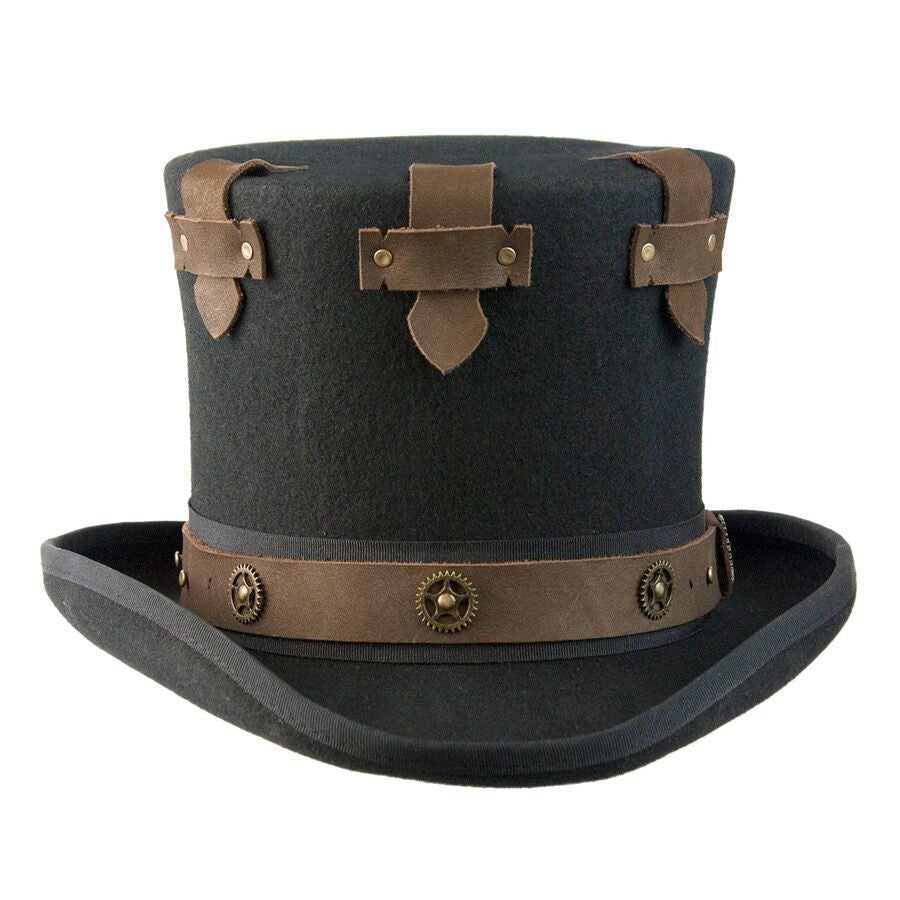 Conner Handmade Hats Victorian Steampunk Secret Top Hat with Brass Wheels
