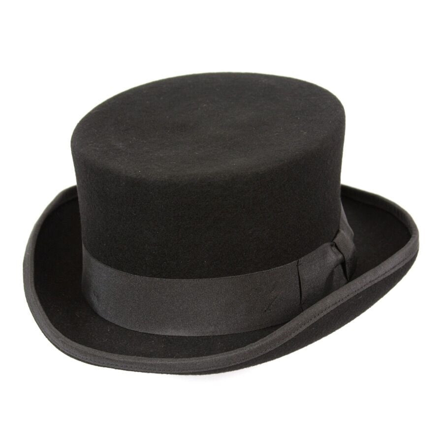 Conner Handmade Hats Victorian Old West Low Rise Top Hat Black Side
