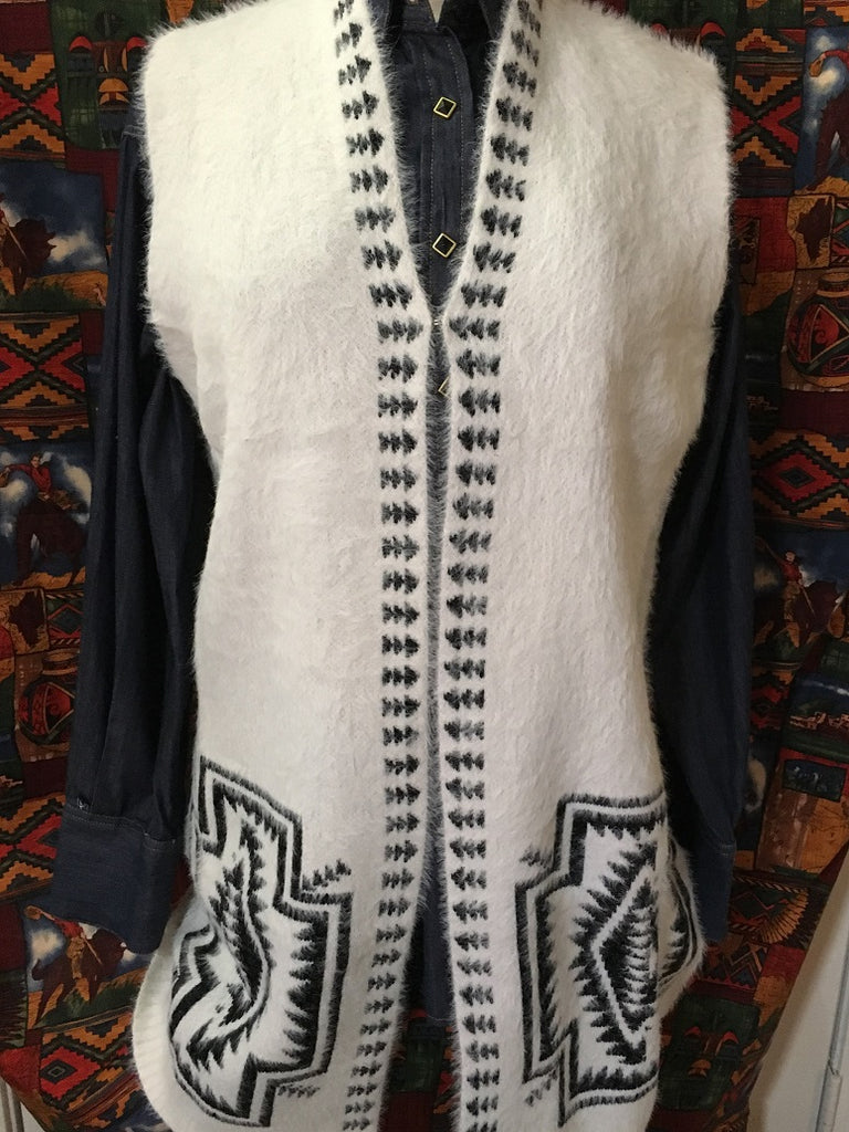 Ladies' Venario Cardigan Vest with Southwestern Crosses Front, Back on Front