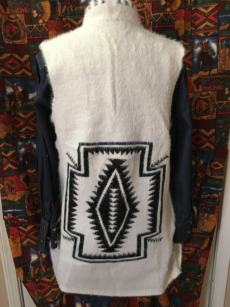 Ladies' Venario Cardigan Vest with Southwestern Crosses Front, Back on Back