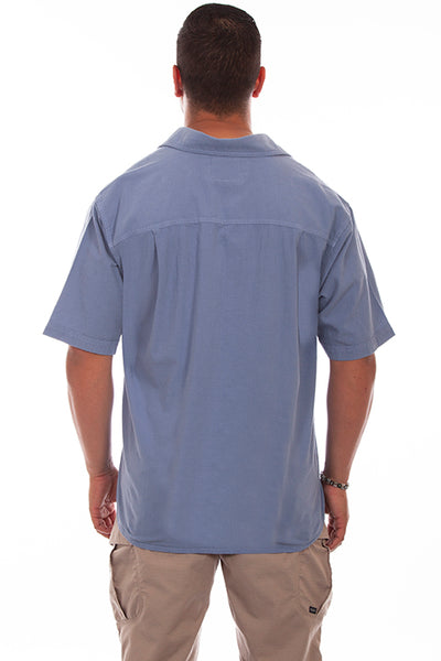Men's Farthest Point Collection Shirt: Short Sleeve Citadel Blue White