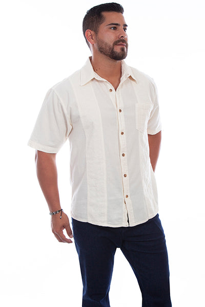 Farthest Point Collection Short Sleeve Distressed Ivory Front