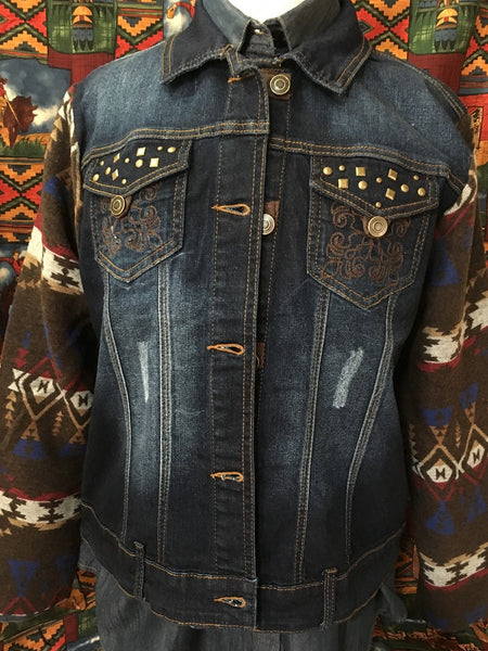 Ladies' Venario Denim Jacket with Fleece Sleeves and Back Front