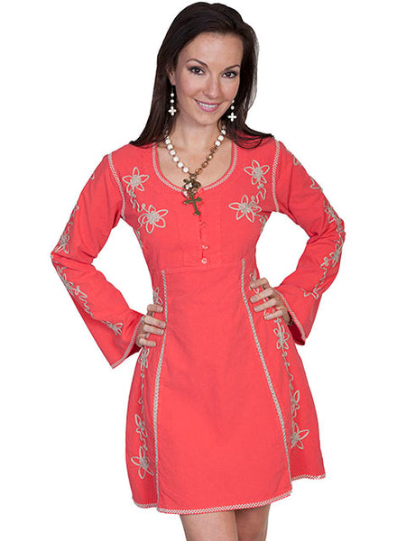 Scully Cantina Collection Women's Boho Dress with Embroidery Cayenne Front