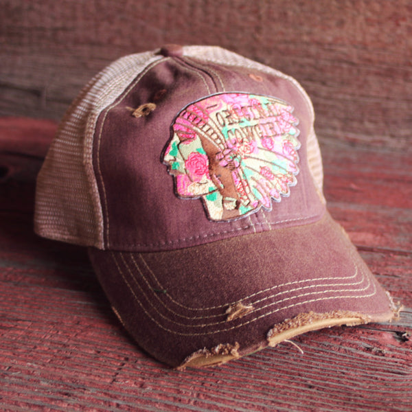 Original Cowgirl Clothing Ball Cap Distressed Chief Maroon #270648
