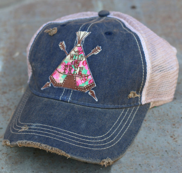 Original Cowgirl Clothing Ball Cap Wild and Free Dark Navy #270633