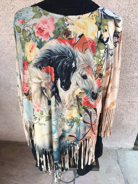Ladies' Fantazia Apparel Poncho Western Print Showtime Front