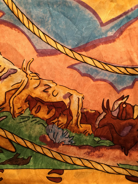 Silk Square Scarf Cattle Drive Print