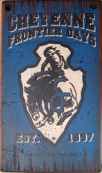 Western Wall Sign Rodeo: Cheyenne Frontier Days Blue