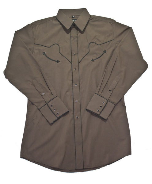 White Horse Apparel Men's Western Shirt Chocolate with Black Piping Front