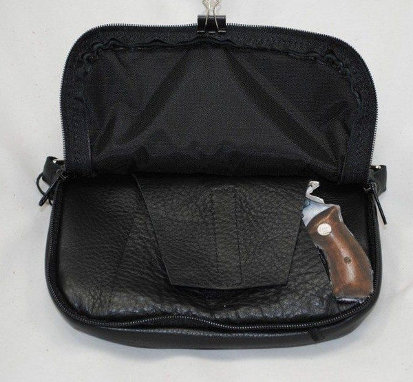 Concealed Carry Hip Bag Black Cowhide Running Horses Front