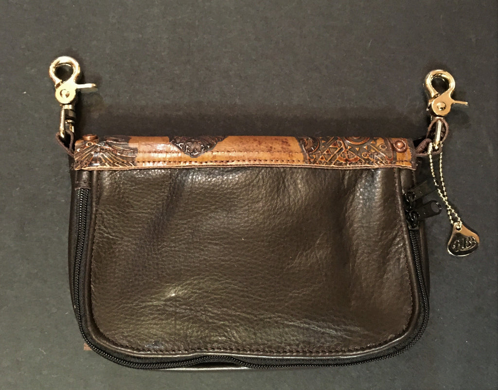 Concealed Carry Hip Bag Coffee Bean Cowhide with Feather Lid Back