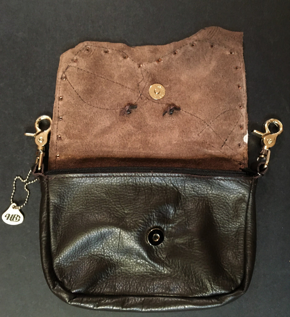 Concealed Carry Hip Bag Coffee Bean Cowhide with Feather Lid Open