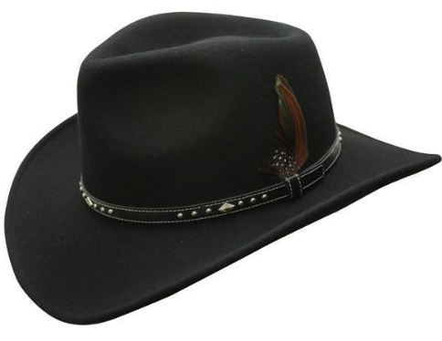 Conner Handmade Hats Cowboy Outback Star Rider Wool Black