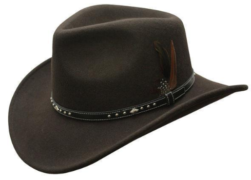 Conner Handmade Hats Cowboy Outback Star Rider Wool Brown