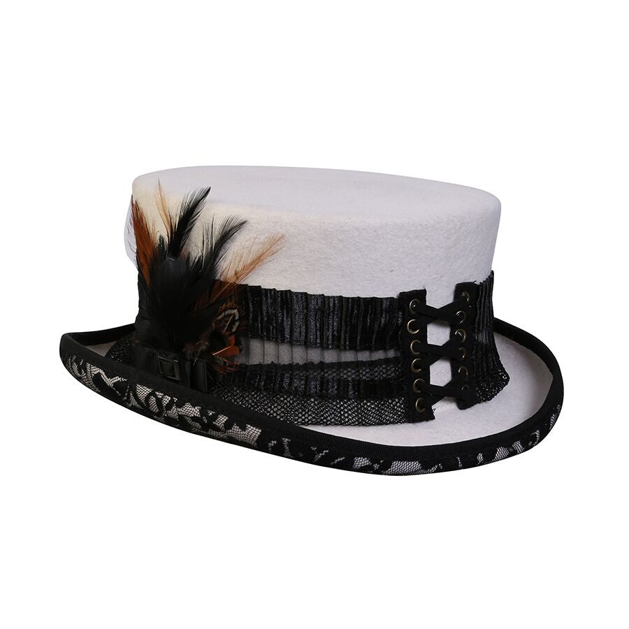 Conner Handmade Hats C1116 Victorian Steampunk White Lightning Top Hat with Black Lace
