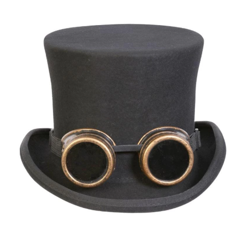 Conner Handmade Hats C1162 Monty Steampunk Top Hat w Goggles Black Front