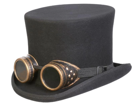 Conner Handmade Hats C1162 Monty Steampunk Top Hat w Goggles Black Side