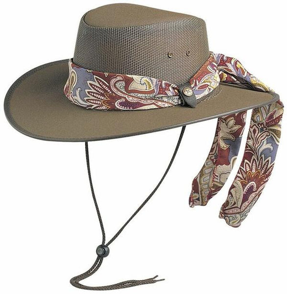 Conner Handmade Hats Canvas Mesh Cool As A Breeze with Scarf Brown