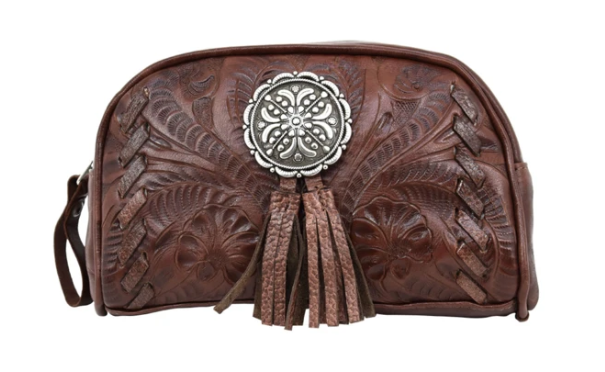 American West Lariats & Lace Collection Cosmetic Case Dark Brown