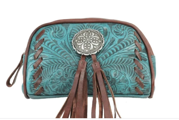 American West Lariats & Lace Collection Cosmetic Case Turquoise