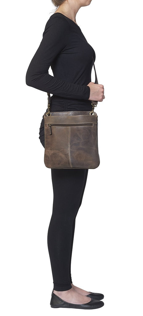 Concealed Cross Body Bag Distressed Brown Buffalo Leather Side View on Model