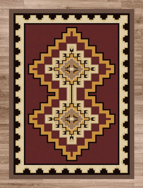American Dakota Council Fire Red Rug