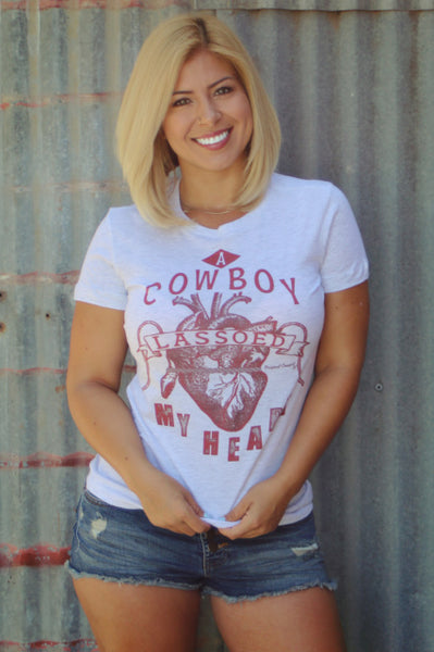 Original Cowgirl Clothing A Cowboy Lassoed My Heart Tee
