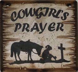 Western Wall Sign Faith: Cowgirl's Prayer