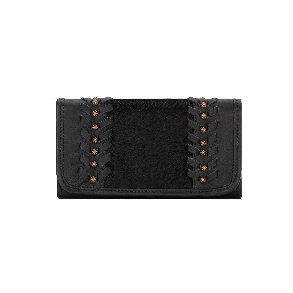 American West Handbag, Cow Town Collection, Tri-Fold Wallet, Front Black