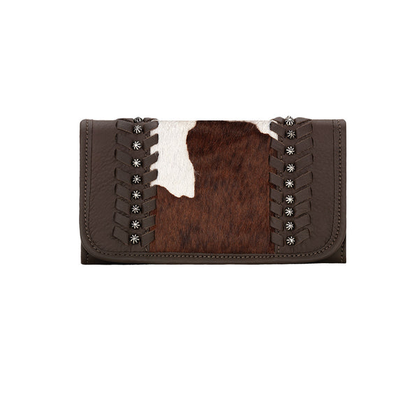 American West Handbag, Cow Town Collection, Tri-Fold Wallet, Front, Two Tone