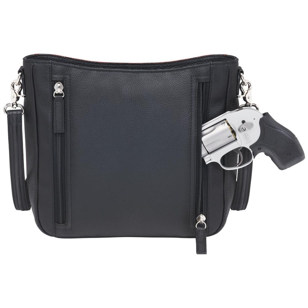 Concealed Carry Slim Crossbody Bag Cinnamon and Black Back with Gun
