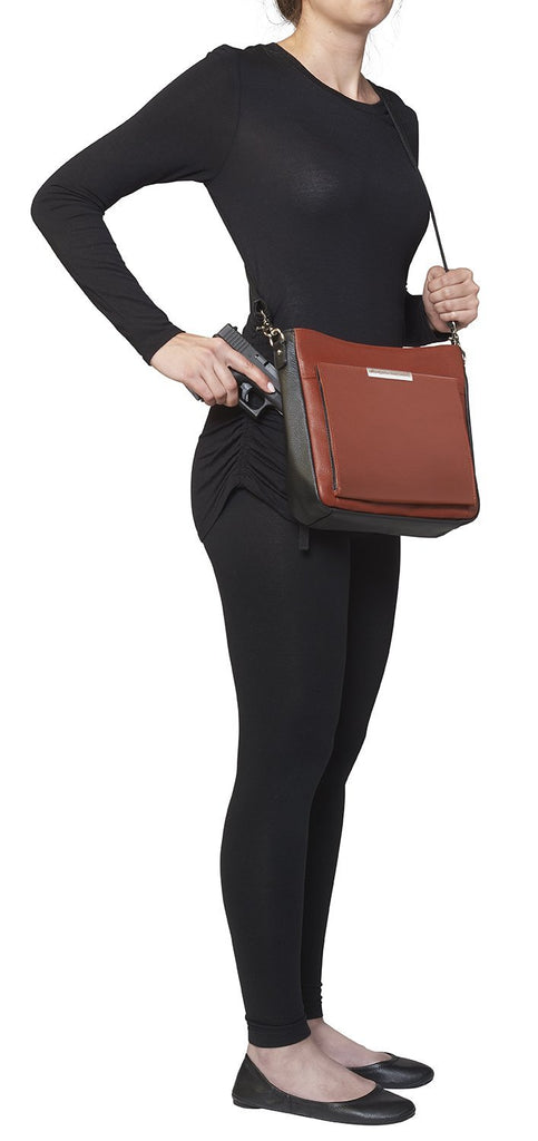 Concealed Carry Slim Crossbody Bag Cinnamon and Black Side View on Model
