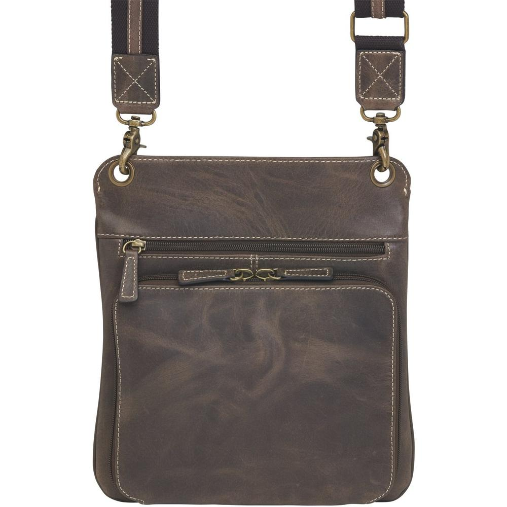 Concealed Cross Body Bag Distressed Brown Buffalo Leather Back