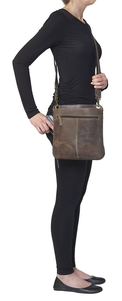 Concealed Cross Body Bag Distressed Brown Buffalo Leather on Model Drawing