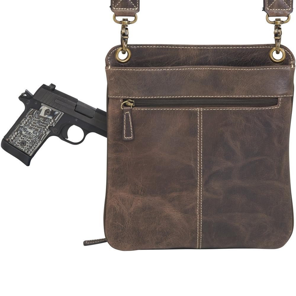 Concealed Cross Body Bag Distressed Brown Buffalo Leather Back with Gun