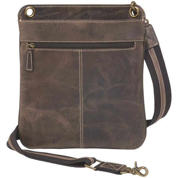Concealed Cross Body Bag Distressed Brown Buffalo Leather Front