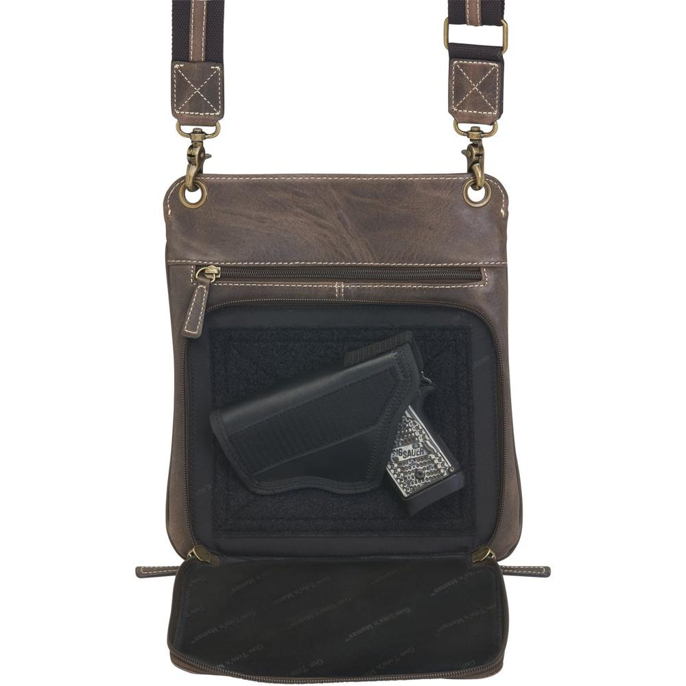 Concealed Cross Body Bag Distressed Brown Buffalo Leather Concealed Carry Compartment