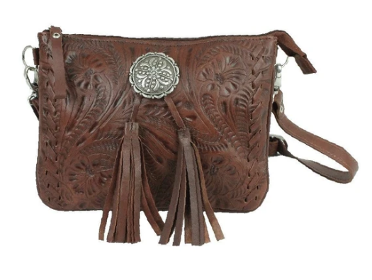 American West Lariats & Lace Collection Crossbody Multi Compartment Bag Dark Brown