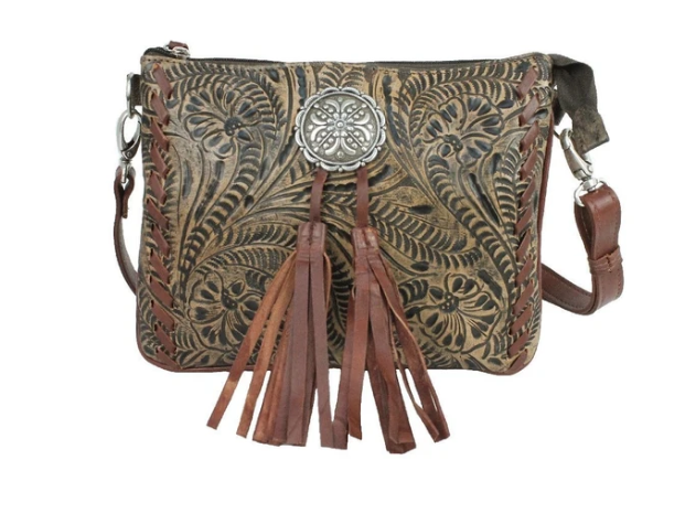 American West Lariats & Lace Collection Crossbody Multi Compartment Bag Distressed Charcoal