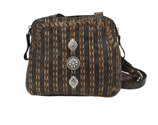 American West Basket Weave Crossbody Multi-Compartment Charcoal