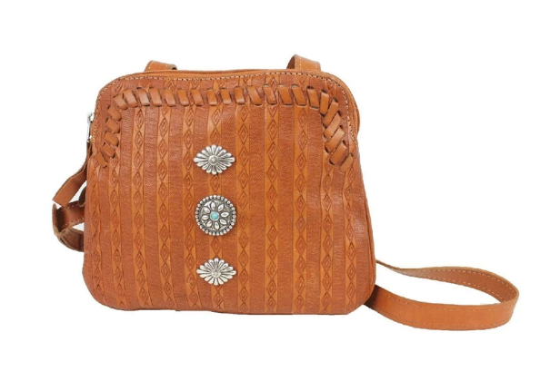 American West Basket Weave Crossbody Multi-Compartment Tan