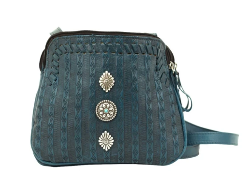 American West Basket Weave Crossbody Multi-Compartment Turquoise