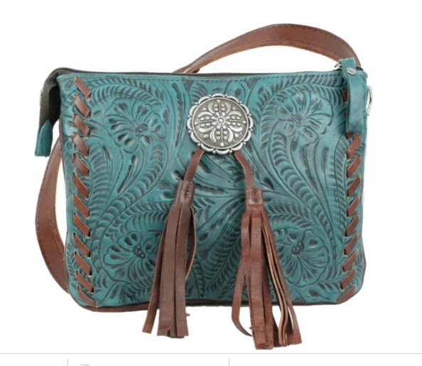 American West Lariats & Lace Collection Crossbody Multi Compartment Bag Dark Turquoise
