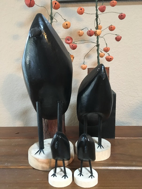 Edith John Hand Carved Crows Standing Large, Medium, XSmall
